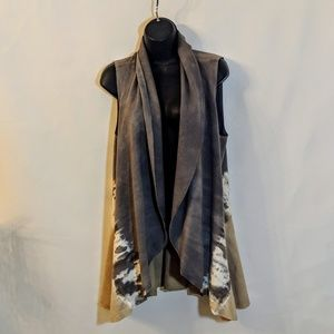 Jackets & Blazers - BoHo Tie Dye French Terry Wrap Pocketed Vest